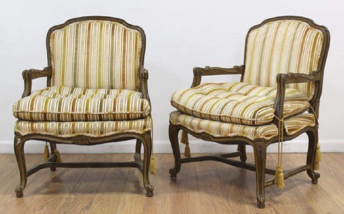 Pair French Open Armchairs