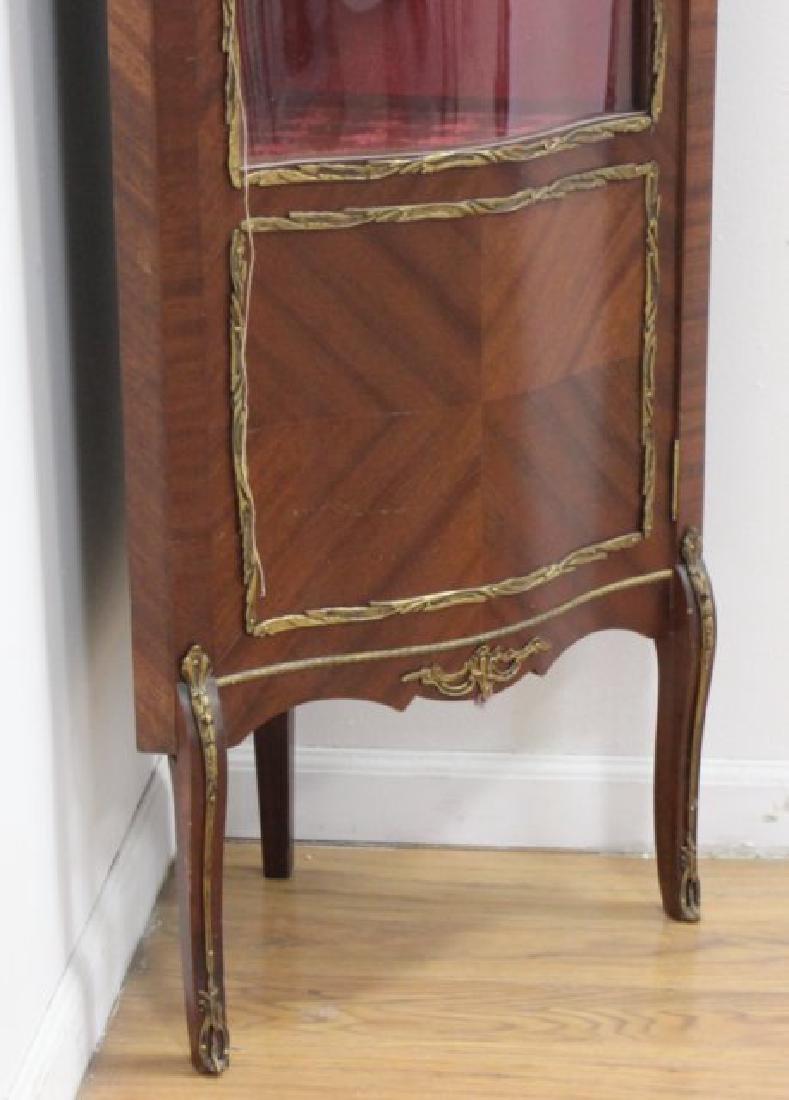French Walnut Curved Glass Corner Curio Cabinet - 3