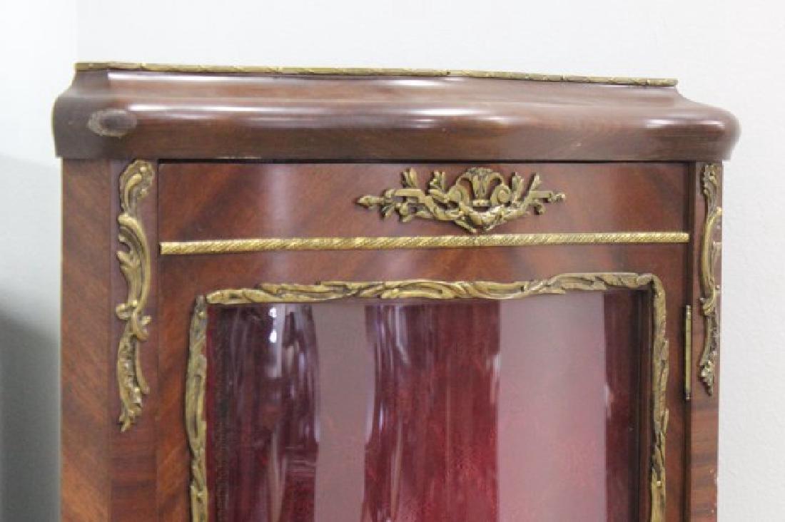 French Walnut Curved Glass Corner Curio Cabinet - 4