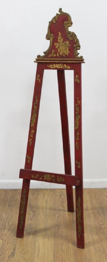 Venetian Style Floral Red & Gold Easel