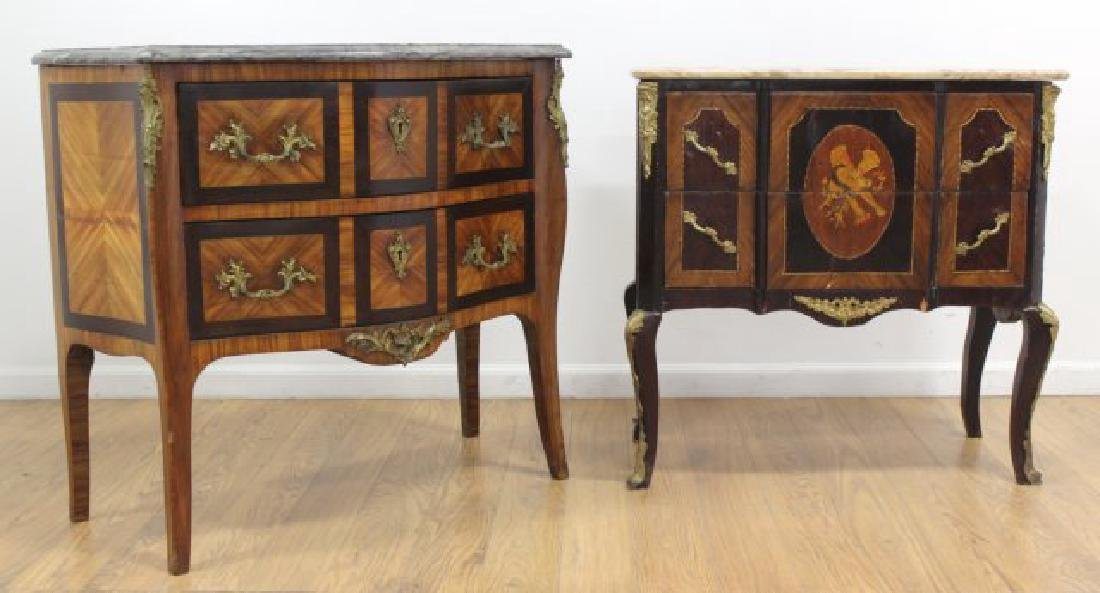 2 French Marble Top 2-Drawer Commodes