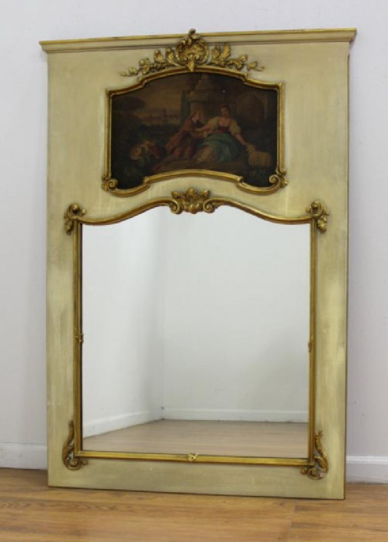 Paint Decorated Trumeau Mirror