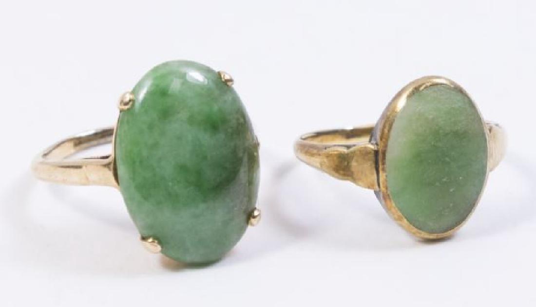 :2-14K Yellow Gold & Jade Rings