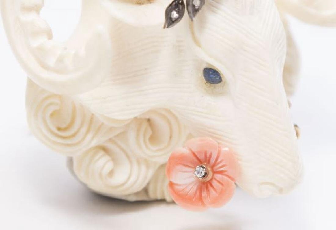 :Carved Bone, Diamond, & Gold Ram's Head Pendant - 3