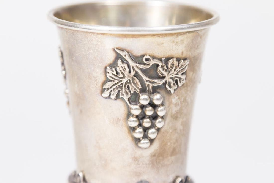 925 Silver Wine Cup with Grape & Leaf Design - 2