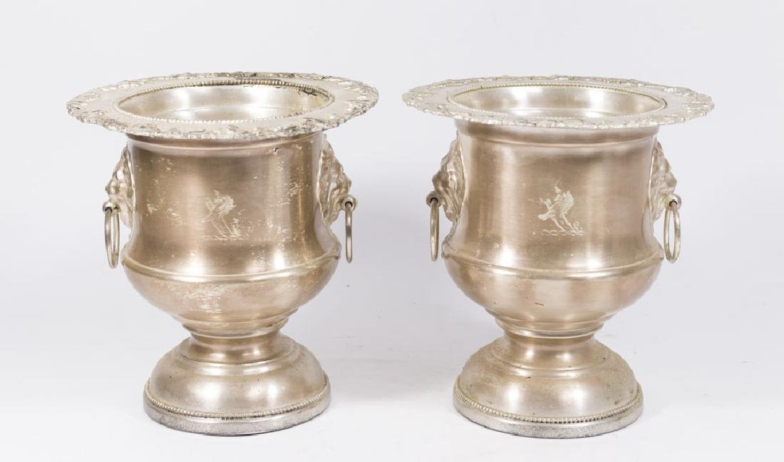 Pair Silverplated Champagne Buckets