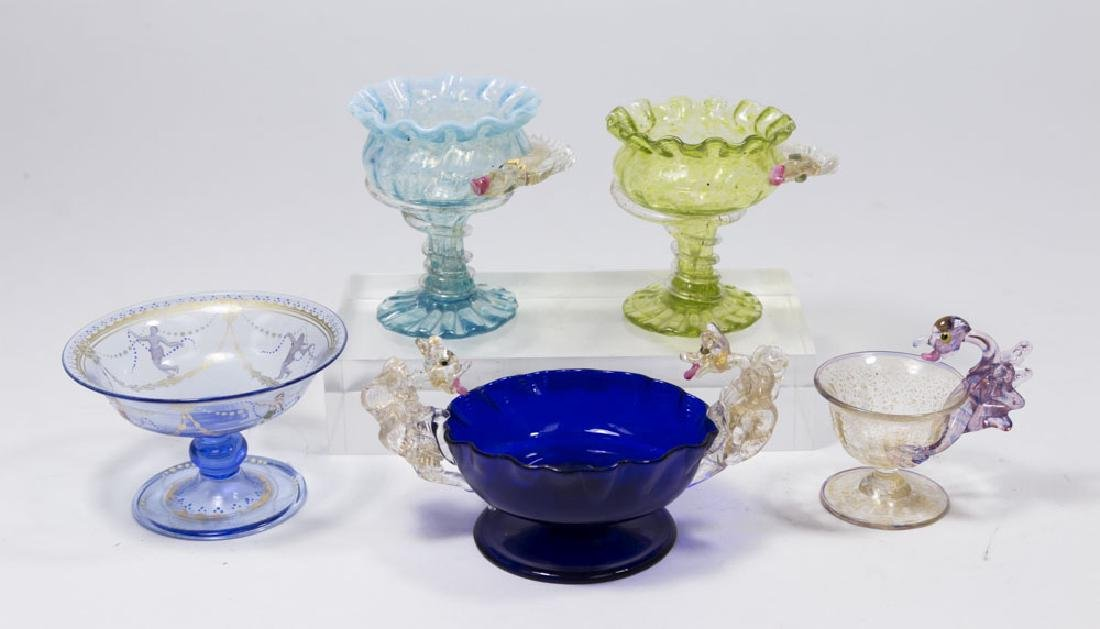 5 Venetian Gilt & Enameled Colored Glass Salts