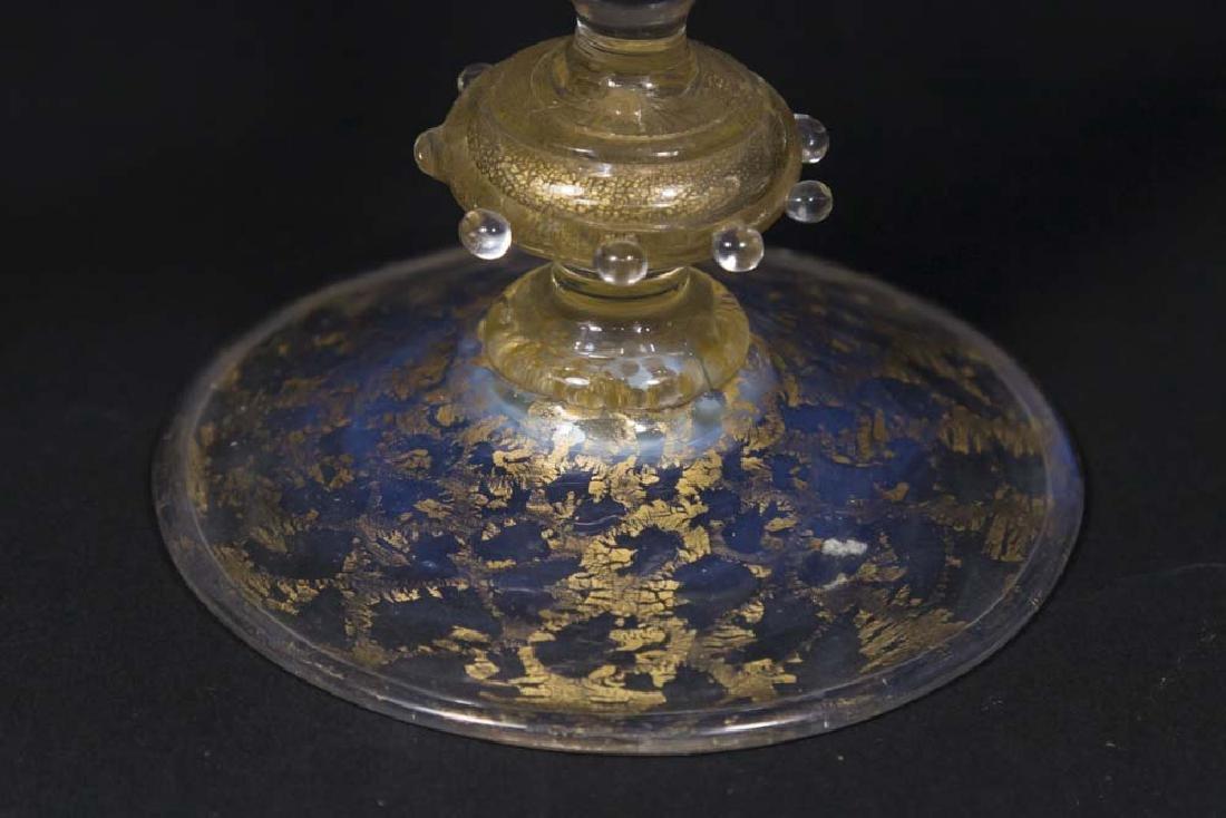 Venetian Gilt Pink & Opaline Glass Cornucopia Vase - 3