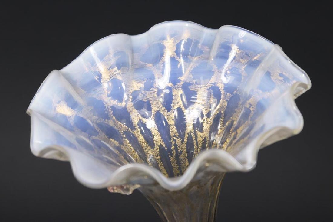 Venetian Gilt Pink & Opaline Glass Cornucopia Vase - 4