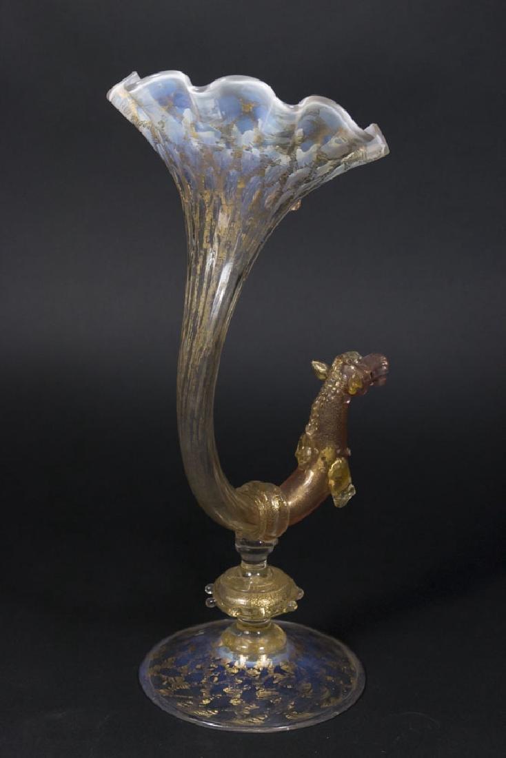Venetian Gilt Pink & Opaline Glass Cornucopia Vase - 5