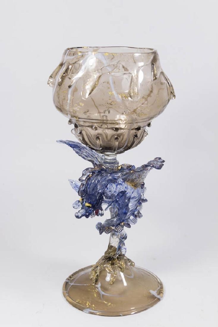 Venetian Gilt Marbleized Blue & Smoked Glass Coupe