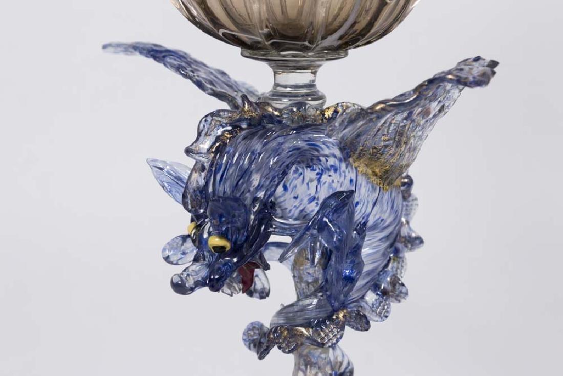 Venetian Gilt Marbleized Blue & Smoked Glass Coupe - 2