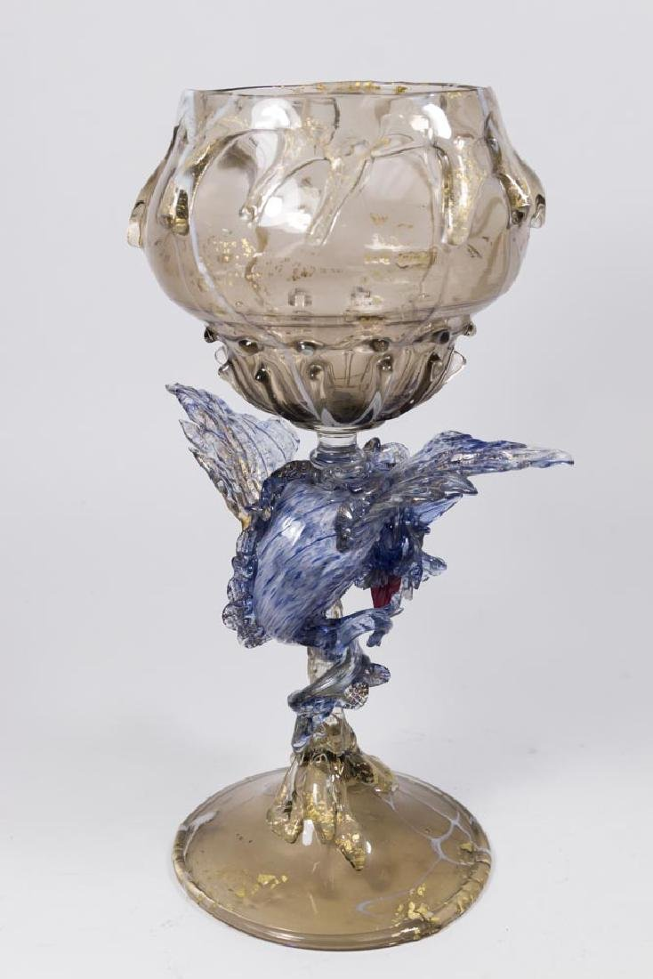 Venetian Gilt Marbleized Blue & Smoked Glass Coupe - 5