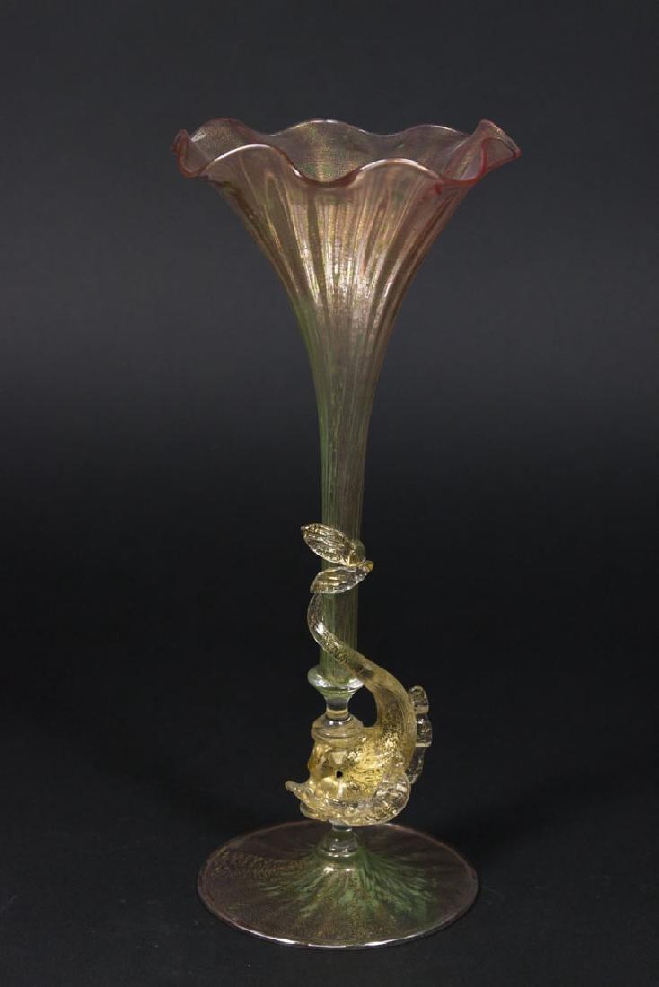 Venetian Gilt Pink & Green Glass Dolphin Bud Vase