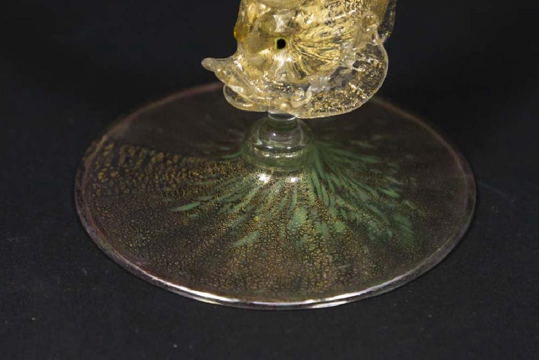 Venetian Gilt Pink & Green Glass Dolphin Bud Vase - 3