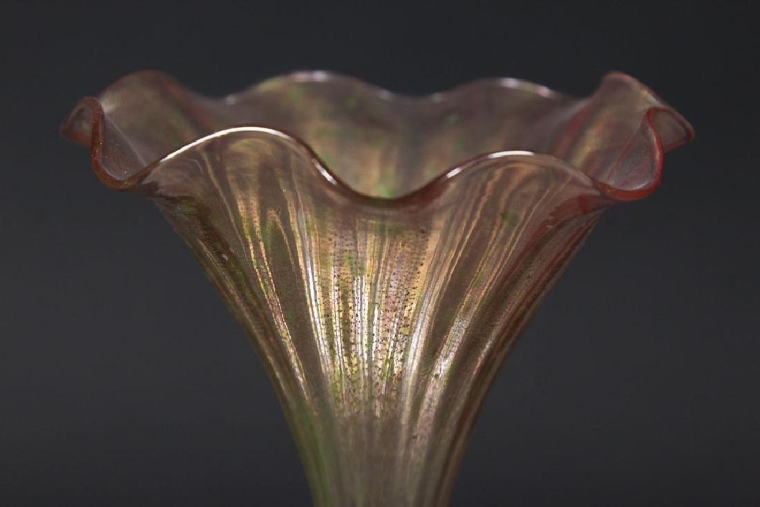 Venetian Gilt Pink & Green Glass Dolphin Bud Vase - 4