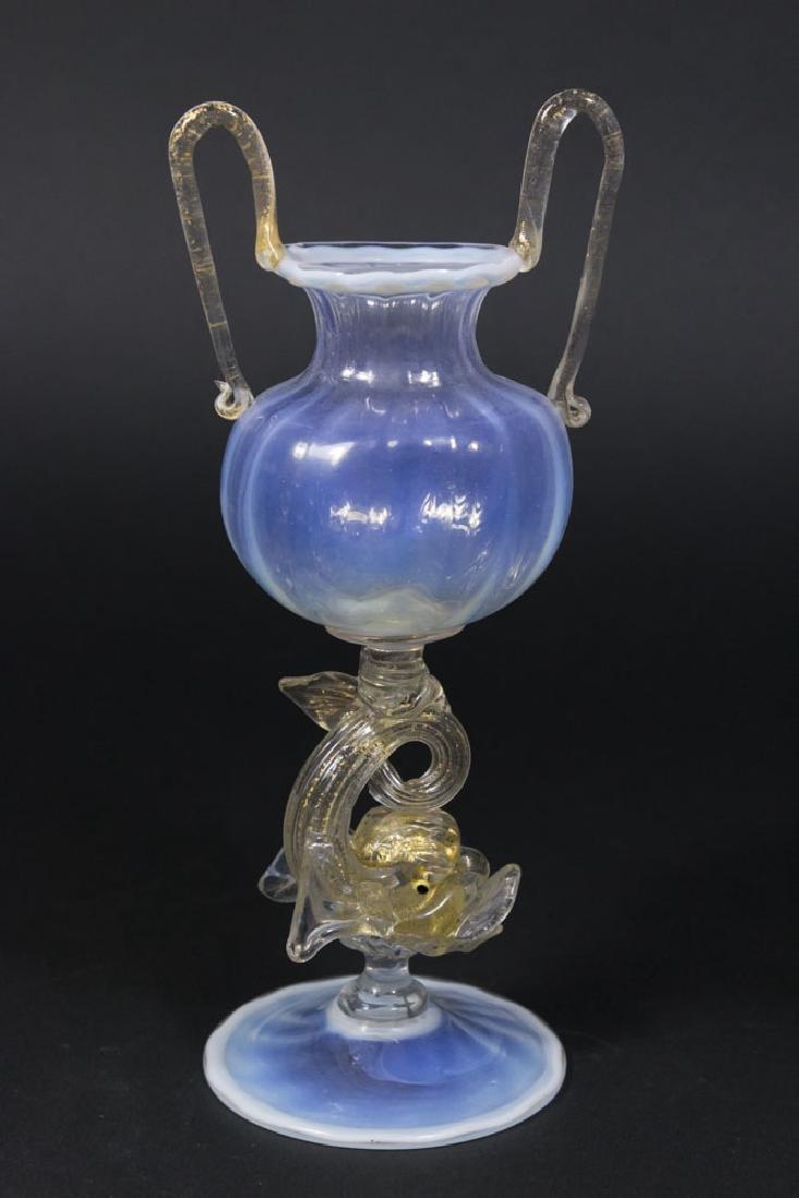 Venetian Gilt Opaline Glass Dolphin Vase