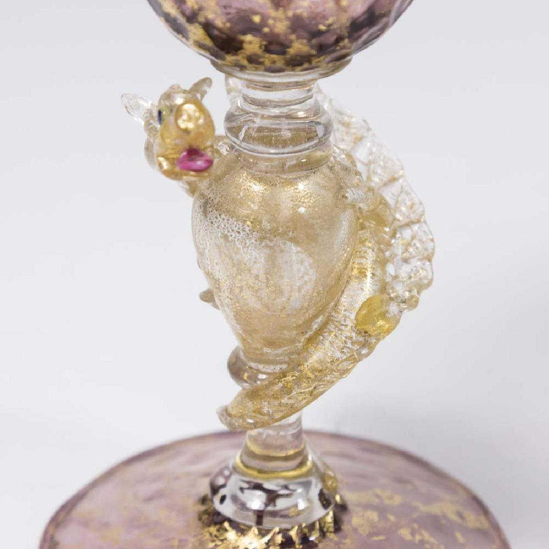 2 Venetian Gilt Violet & Turquoise Glass Goblets - 2