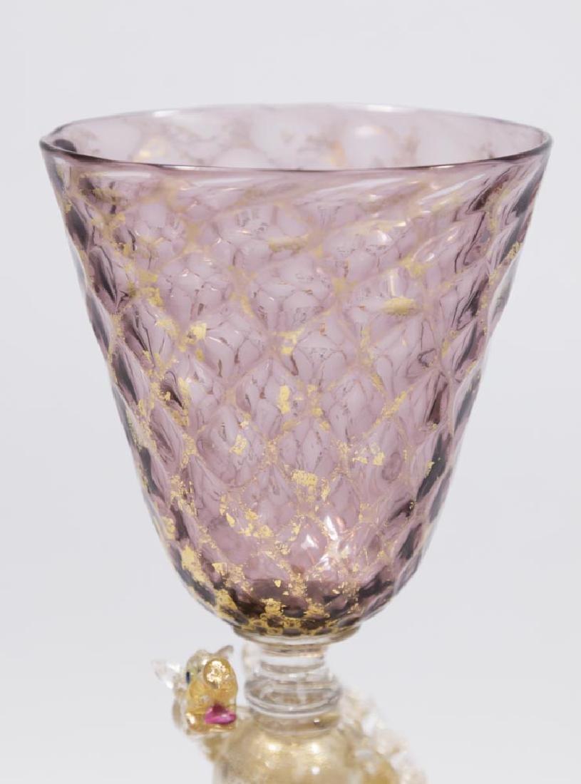 2 Venetian Gilt Violet & Turquoise Glass Goblets - 4