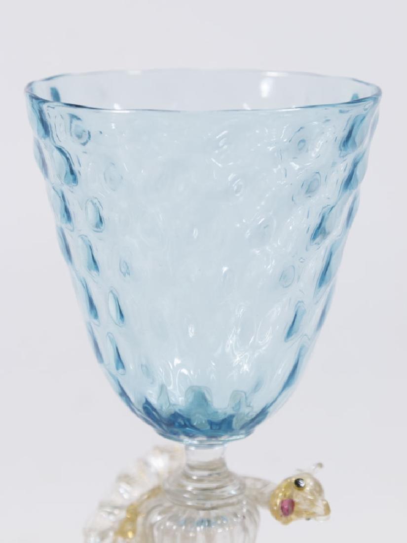 2 Venetian Gilt Violet & Turquoise Glass Goblets - 5