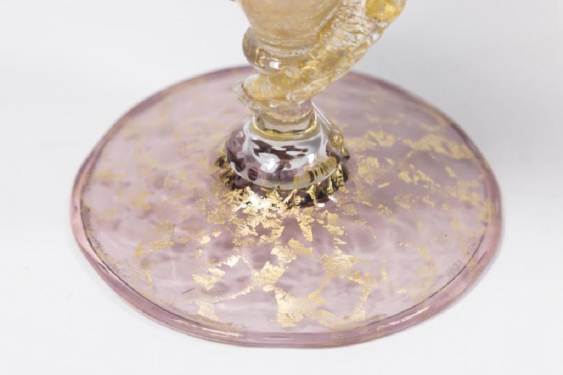 2 Venetian Gilt Violet & Turquoise Glass Goblets - 6