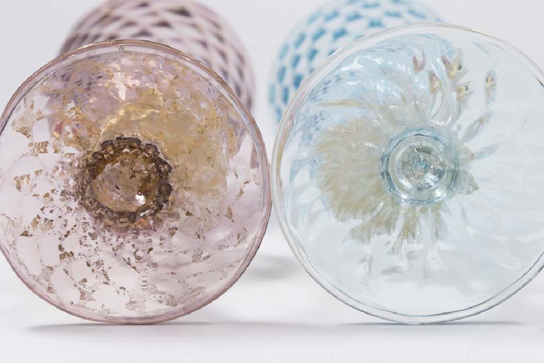 2 Venetian Gilt Violet & Turquoise Glass Goblets - 7