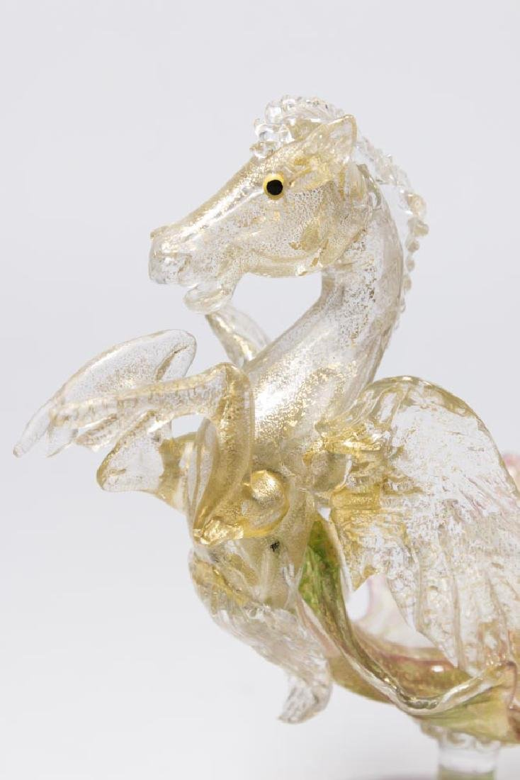 Venetian Gilt Pink & Green Glass Pegasus Compote - 2