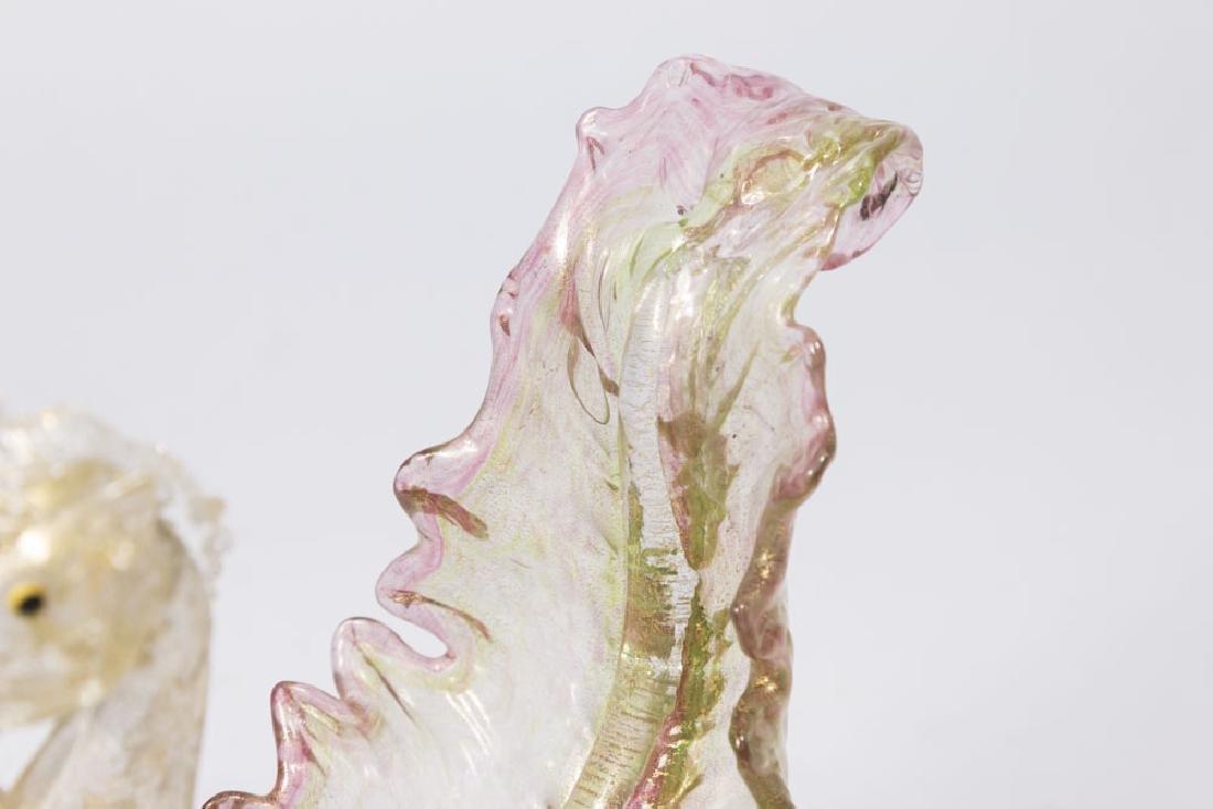 Venetian Gilt Pink & Green Glass Pegasus Compote - 3