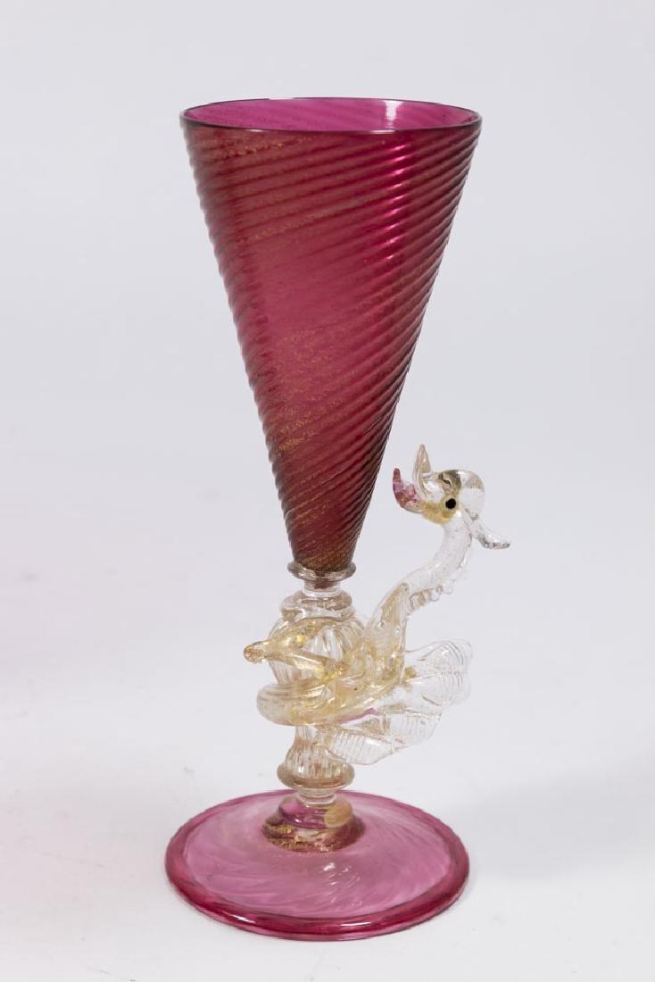 2 Venetian Gilt Ruby & Clear Glass Dragon Goblets - 3