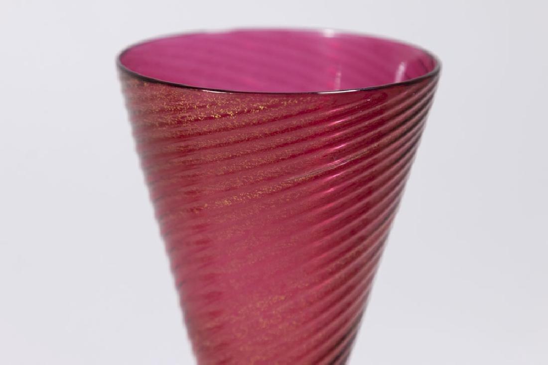 2 Venetian Gilt Ruby & Clear Glass Dragon Goblets - 6