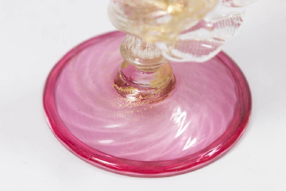 2 Venetian Gilt Ruby & Clear Glass Dragon Goblets - 8