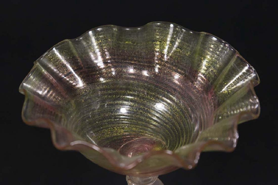 Small Venetian Gilt Pink & Green Glass Compote - 4