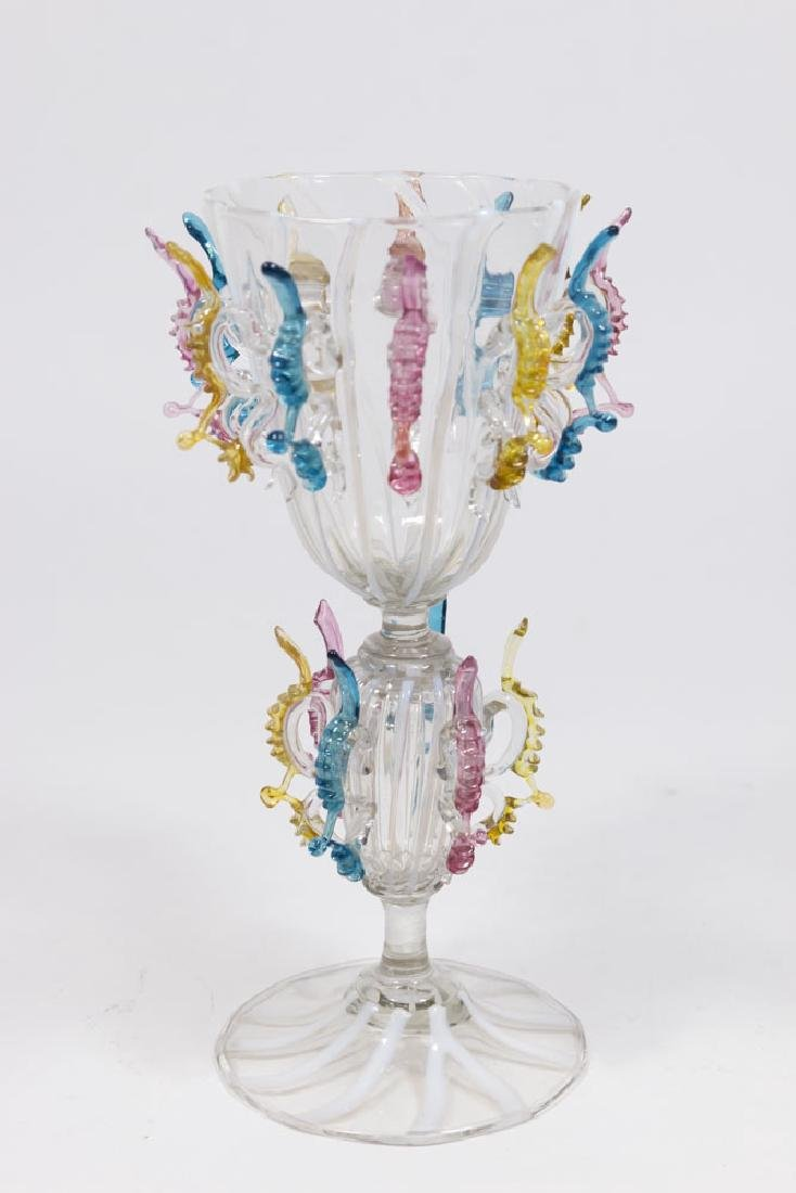 Venetian Multicolored & Clear Glass Goblet