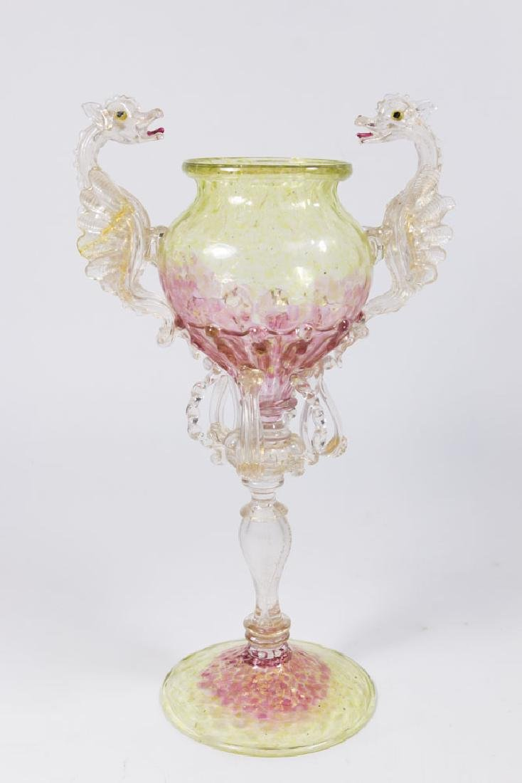 Venetian Gilt Yellow & Pink Glass Dragon Coupe