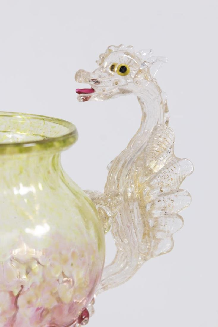 Venetian Gilt Yellow & Pink Glass Dragon Coupe - 2