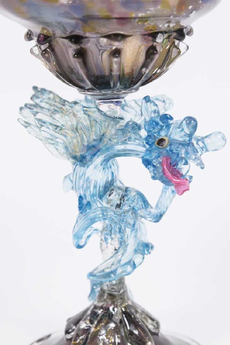 Venetian Mottled Multicolored Glass Dragon Coupe - 2