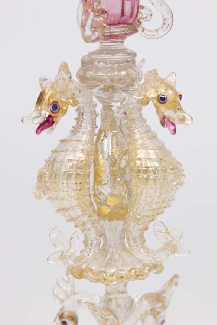 Venetian Gilt Pink Glass Seahorse Coupe - 2