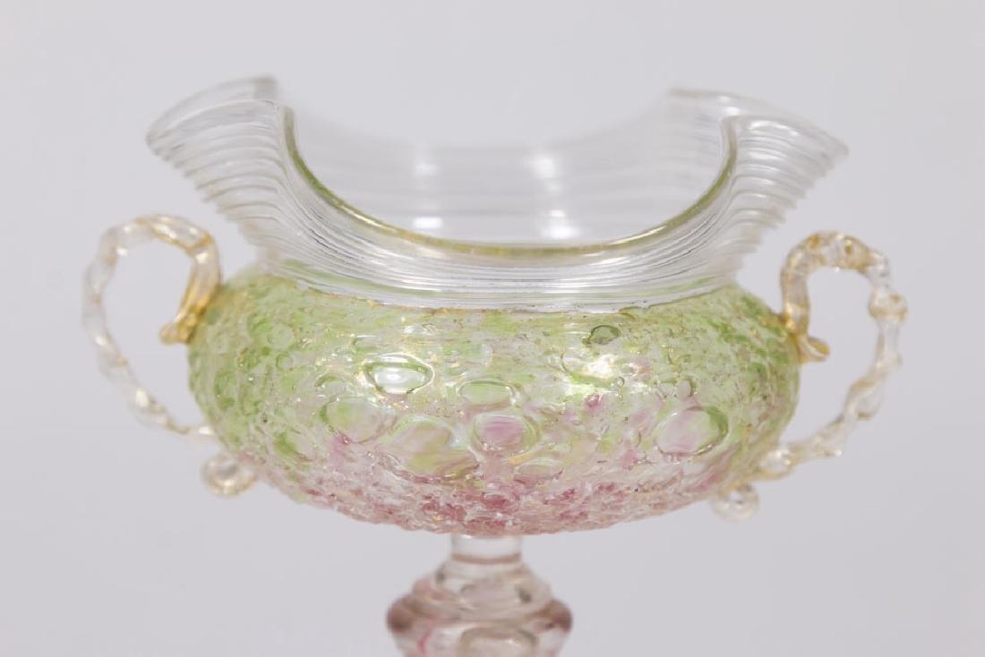 Venetian Gilt Pink & Green Glass Serpent Coupe - 3
