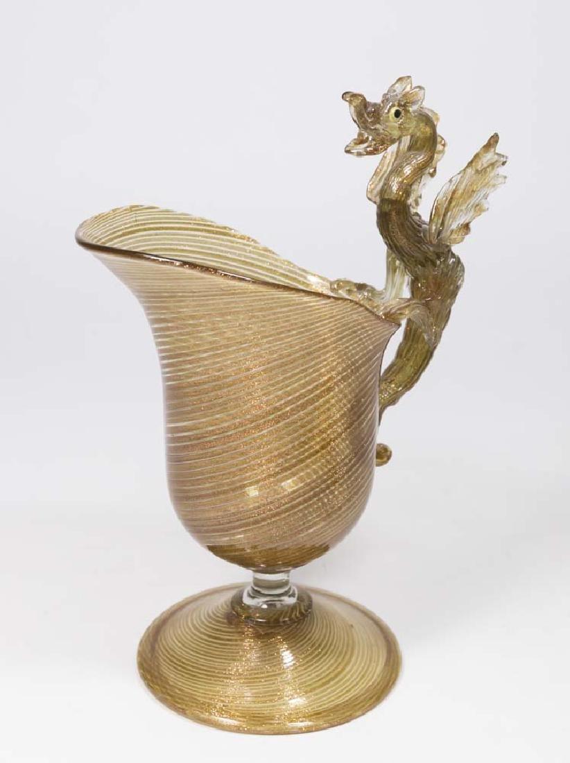 Venetian Swirl Aventurine Glass Dragon Pitcher