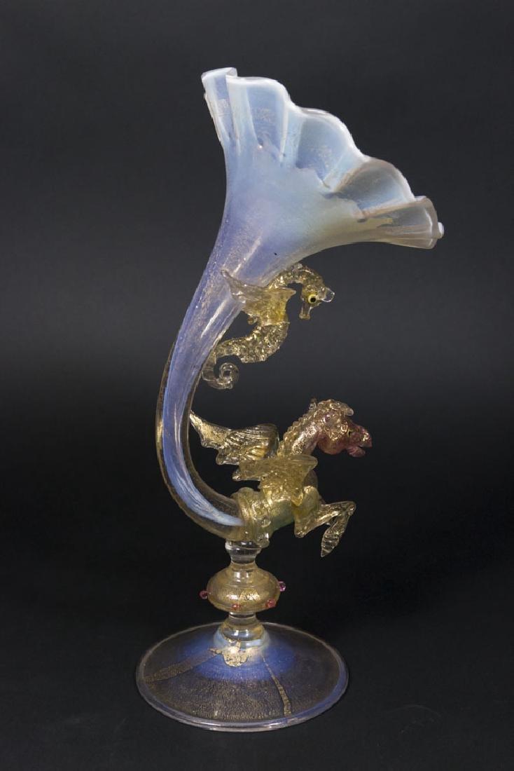 Venetian Glass Pegasus & Seahorse Cornucopia Vase - 6