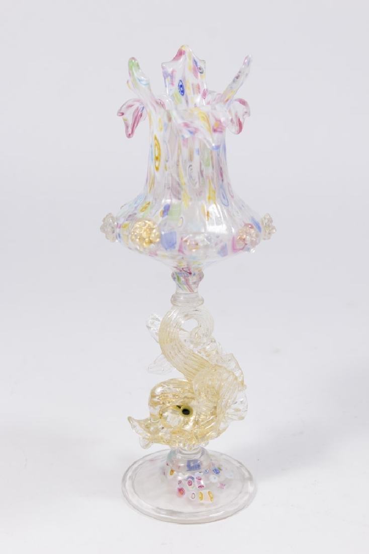 Venetian Gilt Mottled Millefiori Glass Vase
