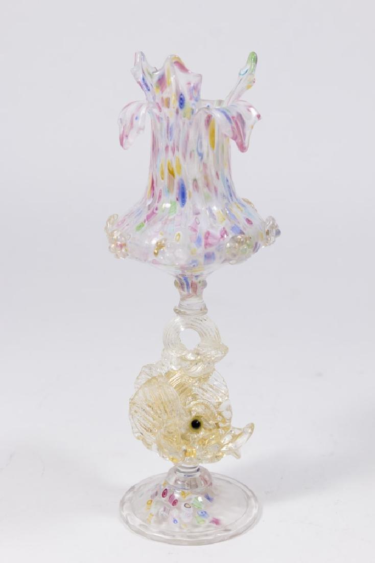 Venetian Gilt Mottled Millefiori Glass Vase - 4