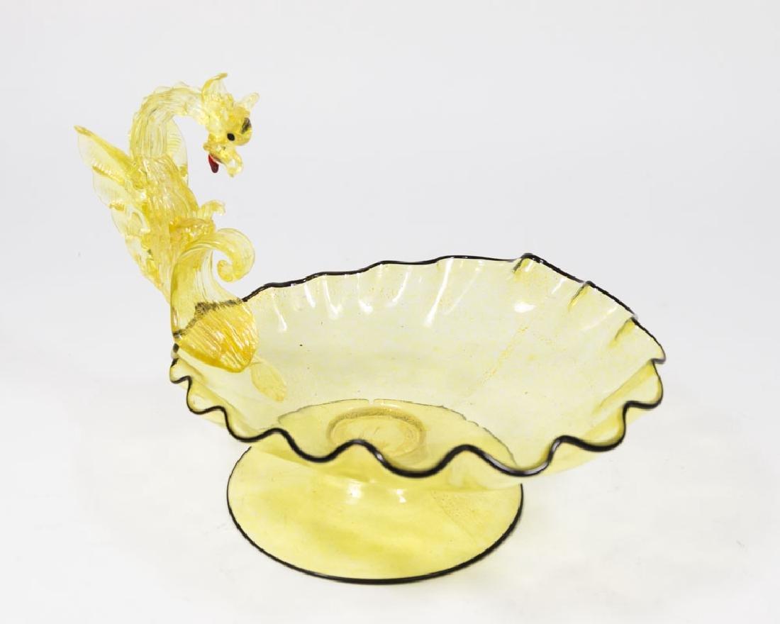 Venetian Gilt Yellow & Black Glass Dragon Compote