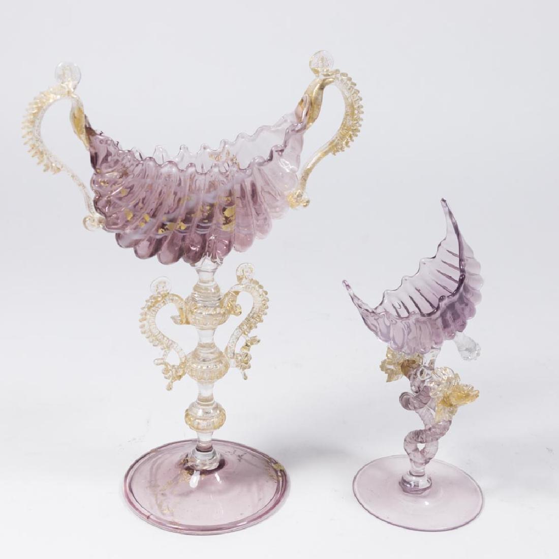 2 Venetian Gilt Purple & Clear Glass Card Holders