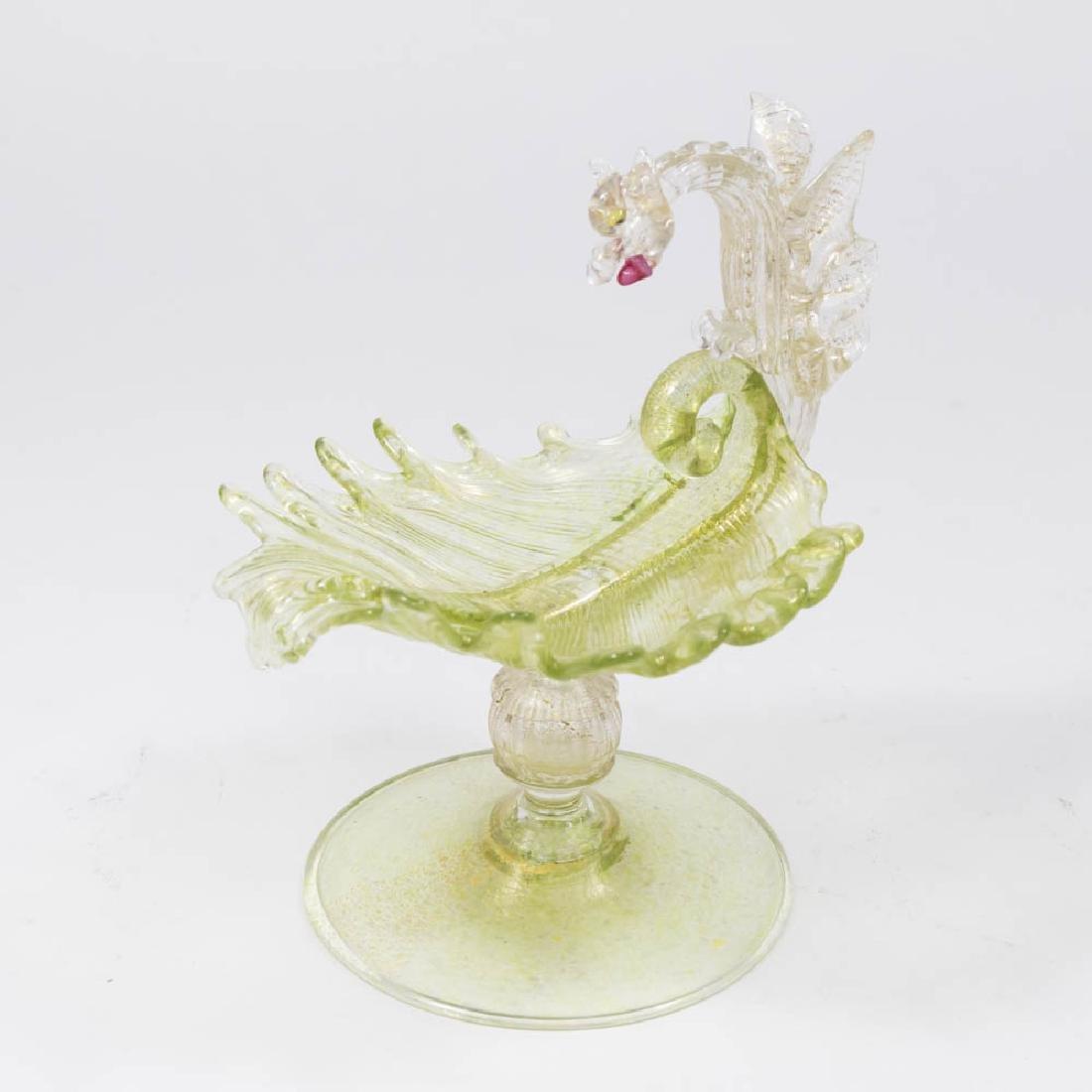 Small Venetian Gilt Green Glass Dragon Compote