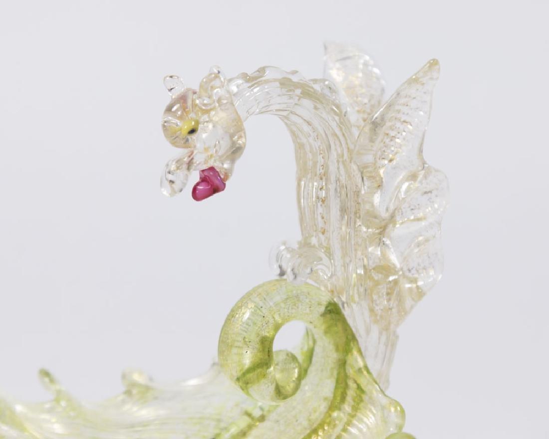 Small Venetian Gilt Green Glass Dragon Compote - 2