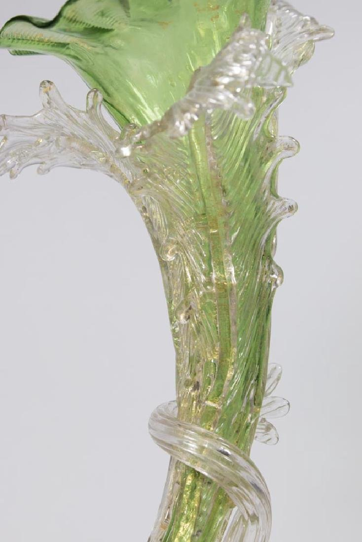 Venetian Gilt Green & Clear Glass Cornucopia Vase - 3