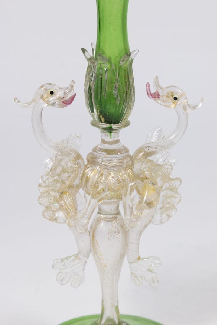 Venetian Gilt Green & Clear Glass Trumpet Vase - 2