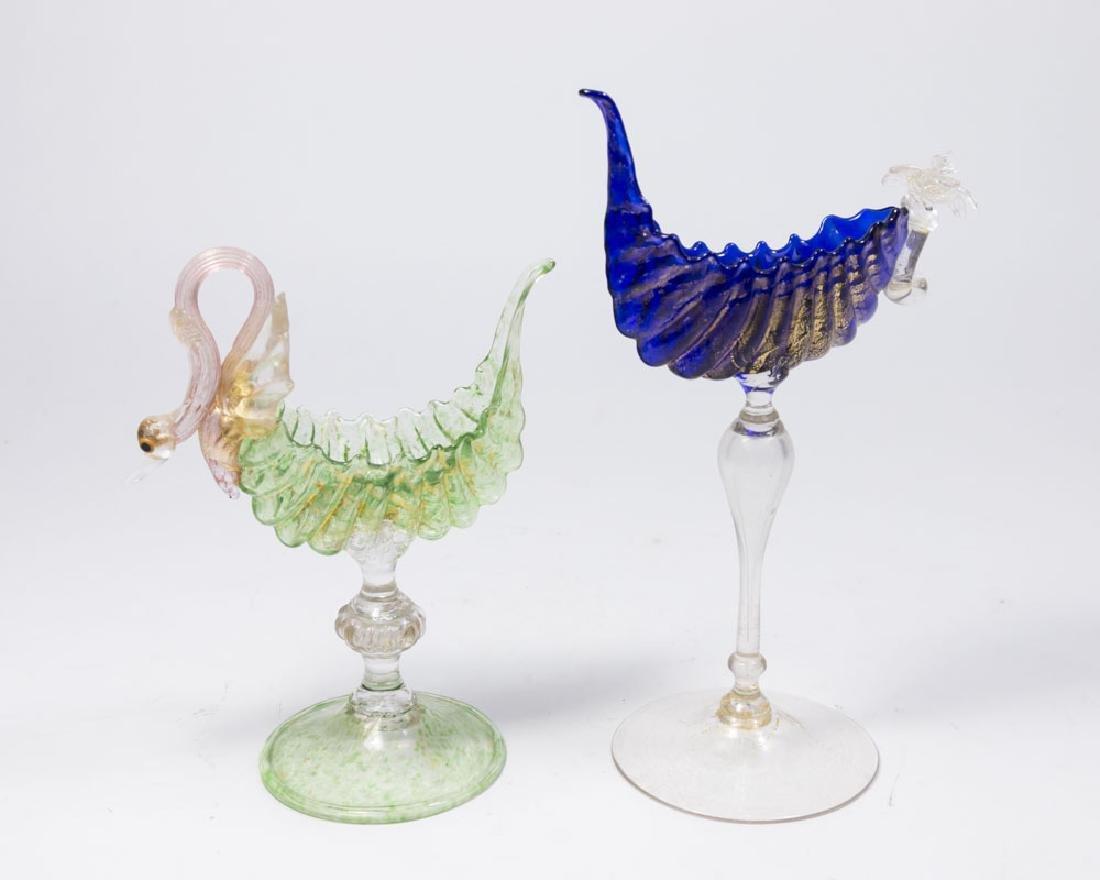 2 Venetian Gilt Green & Cobalt Glass Card Holders