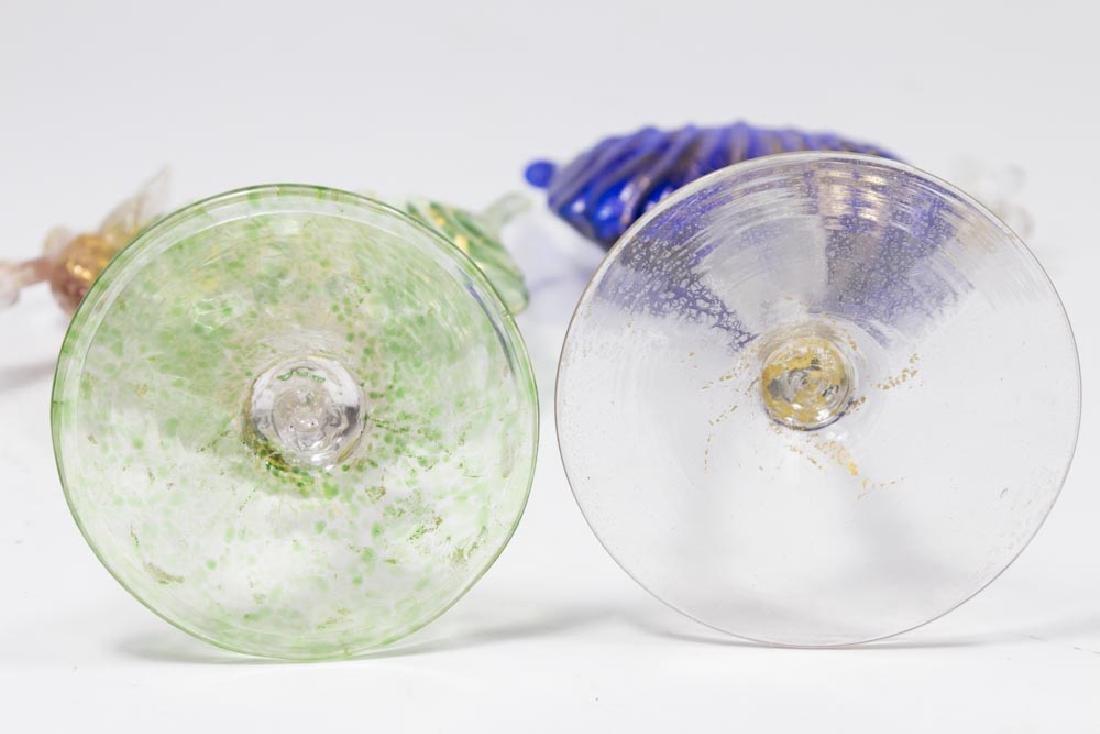 2 Venetian Gilt Green & Cobalt Glass Card Holders - 7